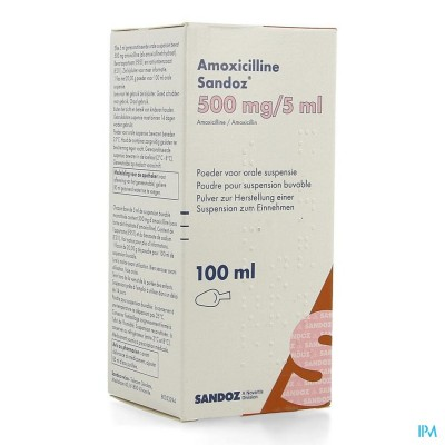 AMOXICILLINE SANDOZ 500MG/5ML PDR ORALE SUSP 100ML