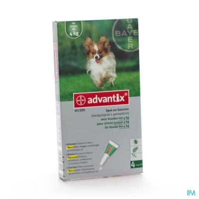 ADVANTIX  40/ 200 HONDEN         < 4KG FL  4X0,4ML