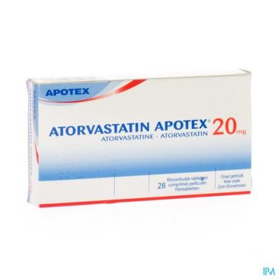 ATORVASTATIN APOTEX 20 MG FILMOMH TABL 28 X 20 MG