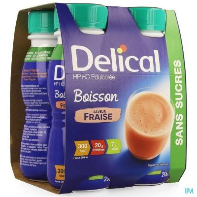Delical Melkdrank Hp-hc Z/suiker Aardbei 4x200ml