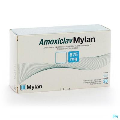 AMOXICLAV MYLAN COMP 20X875MG